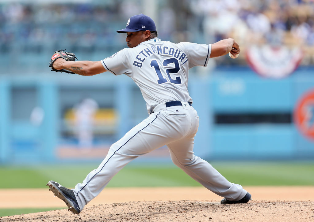 Reliever Christian Bethancourt #12 of the San Diego Padres