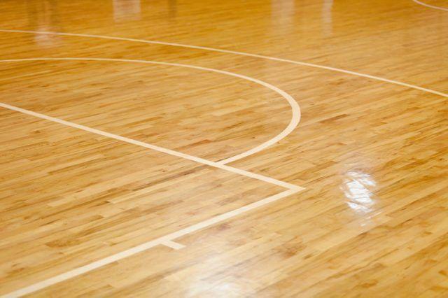 An empty basketball court.