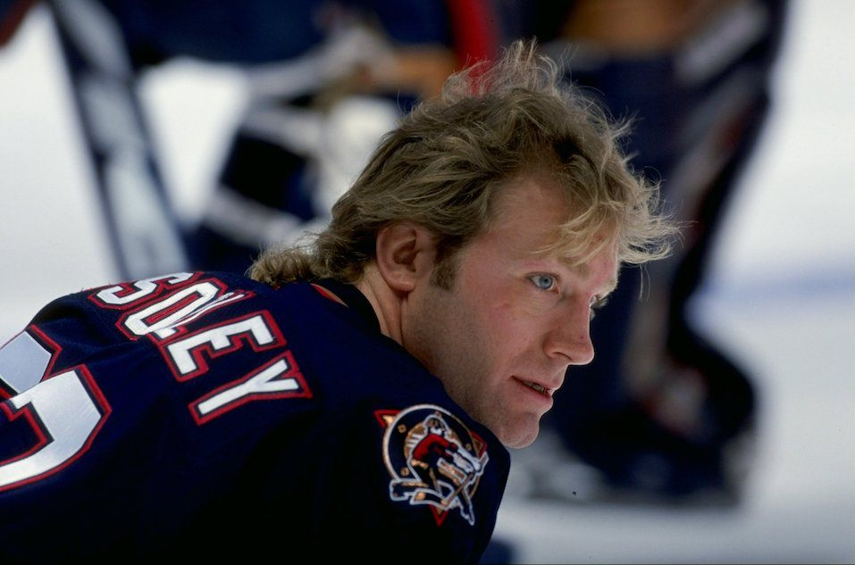 Marty McSorley #33 of the Edmonton Oilers looks on during the game against the Anaheim Mighty Ducks