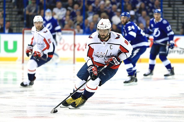 Alex Ovechkin in Game Seven of the Eastern Conference Finals during the 2018 NHL Stanley Cup Playoffs at Amalie Arena on May 23, 2018 in Tampa, Florida.