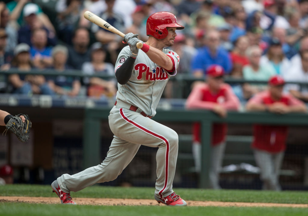 Andrew Knapp #34 of the Philadelphia Phillies hits an RBI-single