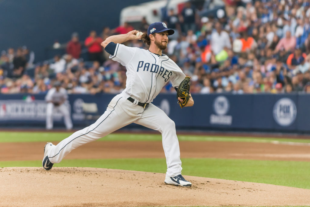 Starting pitcher Bryan Mitchell #50 of San Diego Padres pitches