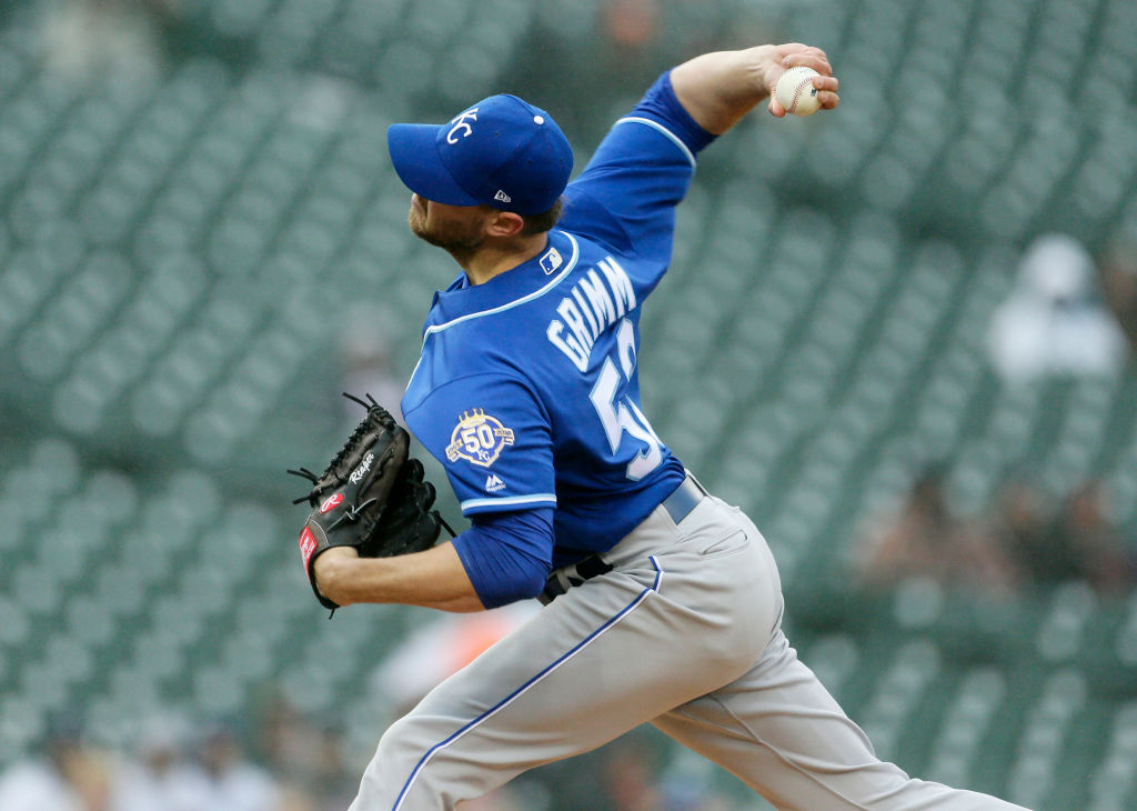 Justin Grimm #52 of the Kansas City Royals pitches against the Detroit Tigers