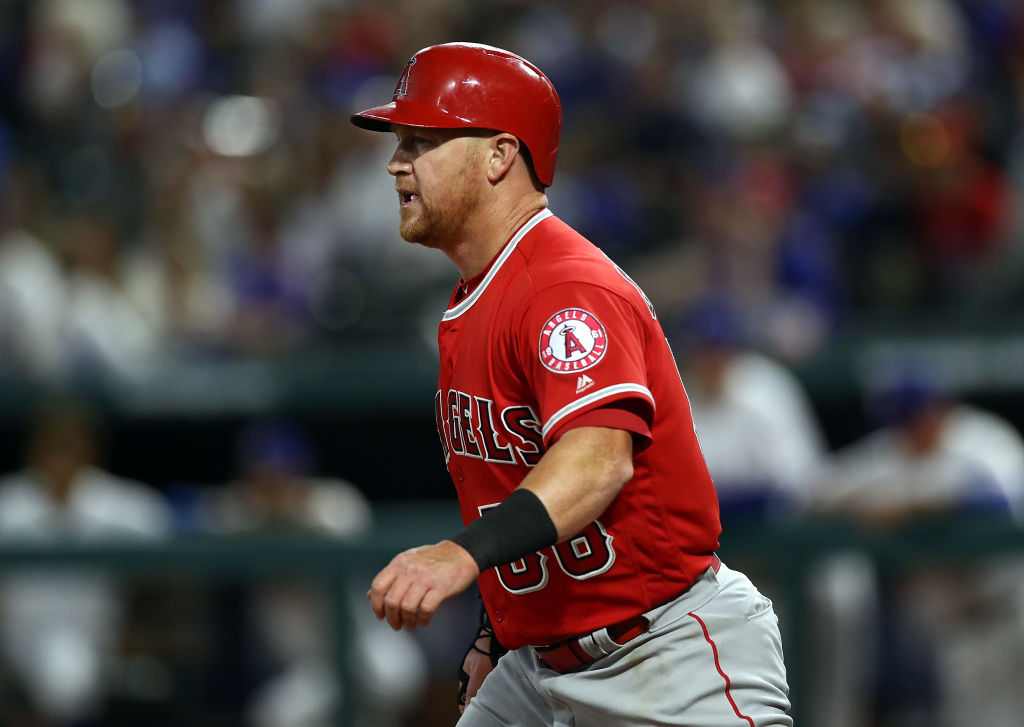 Kole Calhoun #56 of the Los Angeles Angels celebrates a run