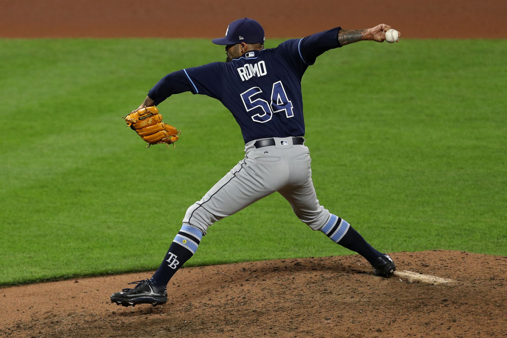 Sergio Romo #54 of the Tampa Bay Rays pitches