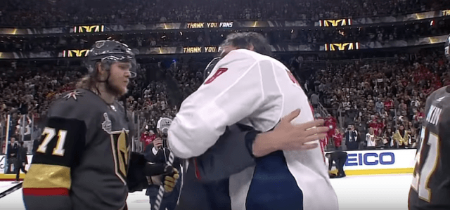 Ovechkin hugging other players.