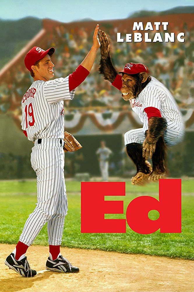 Matt LeBlanc with a monkey on the Ed movie poster