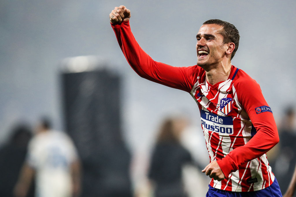 Antoine Griezmann of Atletico Madrid celebrates his team's victory in the UEFA Europa League Final between Olympique de Marseille and Club Atletico de Madrid at Stade de Lyon on May 16, 2018 in Lyon, France.