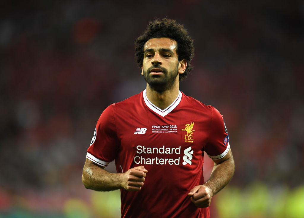 Mohamed Salah of Liverpool reacts during the UEFA Champions League Final between Real Madrid and Liverpool at NSC Olimpiyskiy Stadium on May 26, 2018 in Kiev, Ukraine.