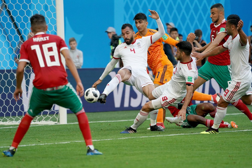 Roozbeh Cheshmi of Iran shoots on goal during the 2018 FIFA World Cup Russia group B match between Morocco and Iran at Saint Petersburg Stadium on June 15, 2018 in Saint Petersburg, Russia.