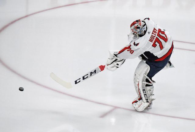 Braden Holtby #70 of the Washington Capitals shoots the puck during warmups before Game Five of the 2018 NHL Stanley Cup Final.