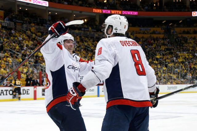 Ovechkin hugging his teammate.