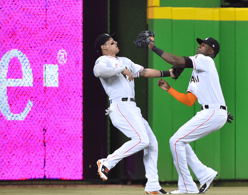 A near collision on the Marlins baseball team