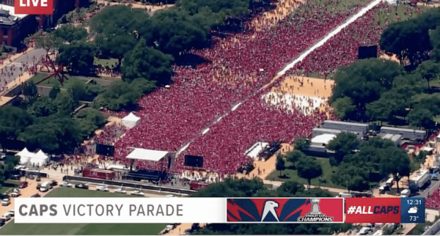 Crowd at the victory parade.