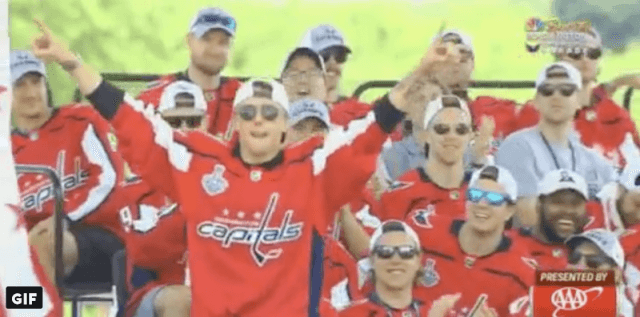 Vrana celebrating with his team.