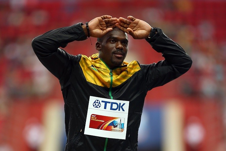 Bronze medalist Nesta Carter of Jamaica on the podium during the medal ceremony for the Men's 100 metres during Day Three of the 14th IAAF World Athletics Championships Moscow 2013 at Luzhniki Stadium on August 12, 2013 in Moscow, Russia.