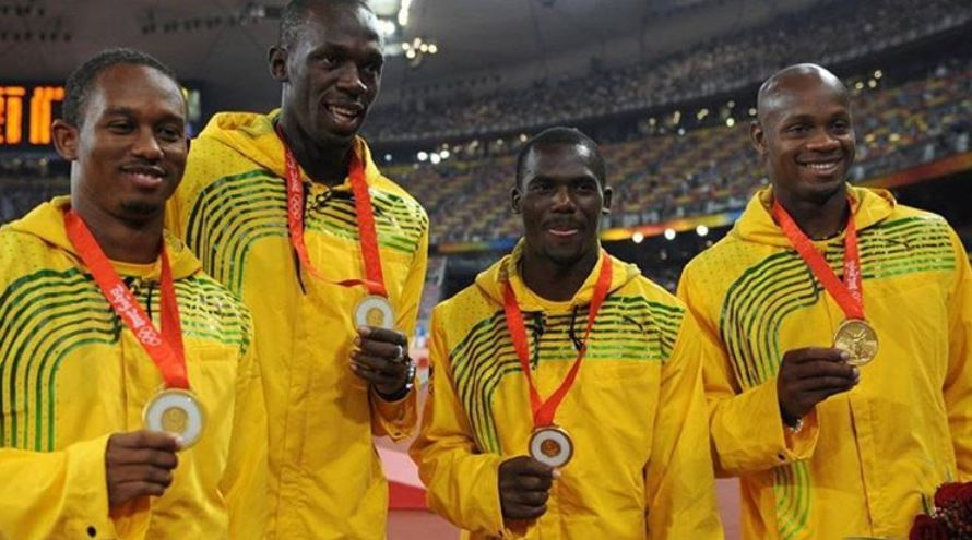Usain Bolt and teammates at Beijing in 2008
