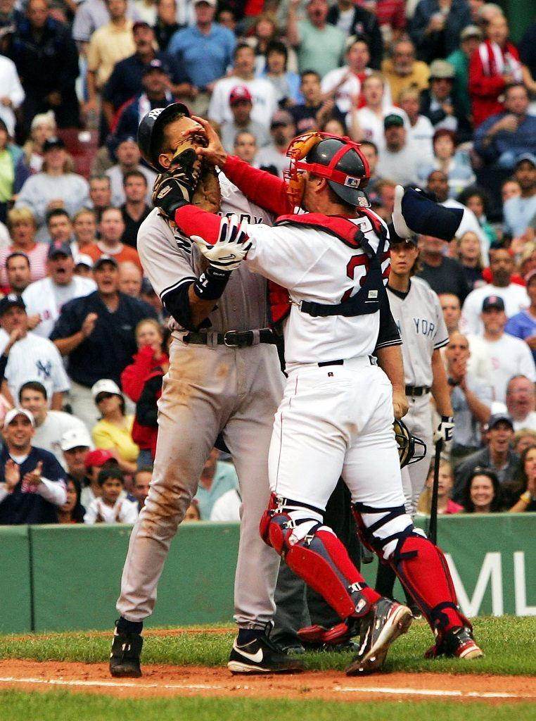 Alex Rodriguez and Jason Varitek cause a bench-clearing brawl at Fenway Park