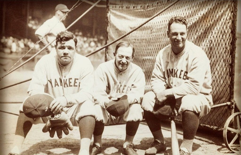 Yankees manager Miller Huggins with Babe Ruth and Lou Gehrig