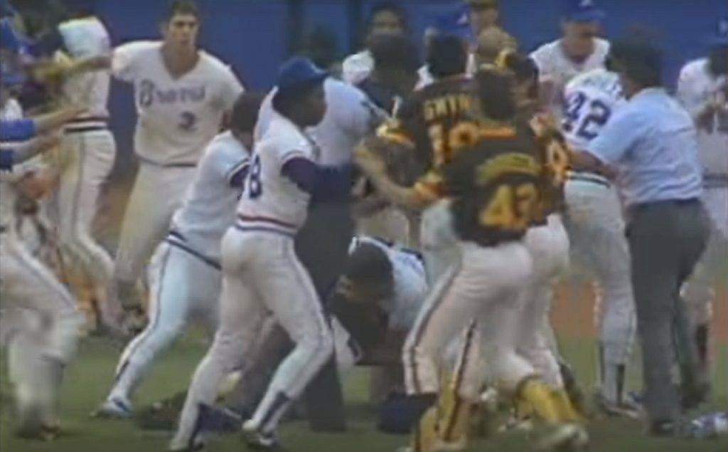 The Braves and Padres fought multiple times during this game