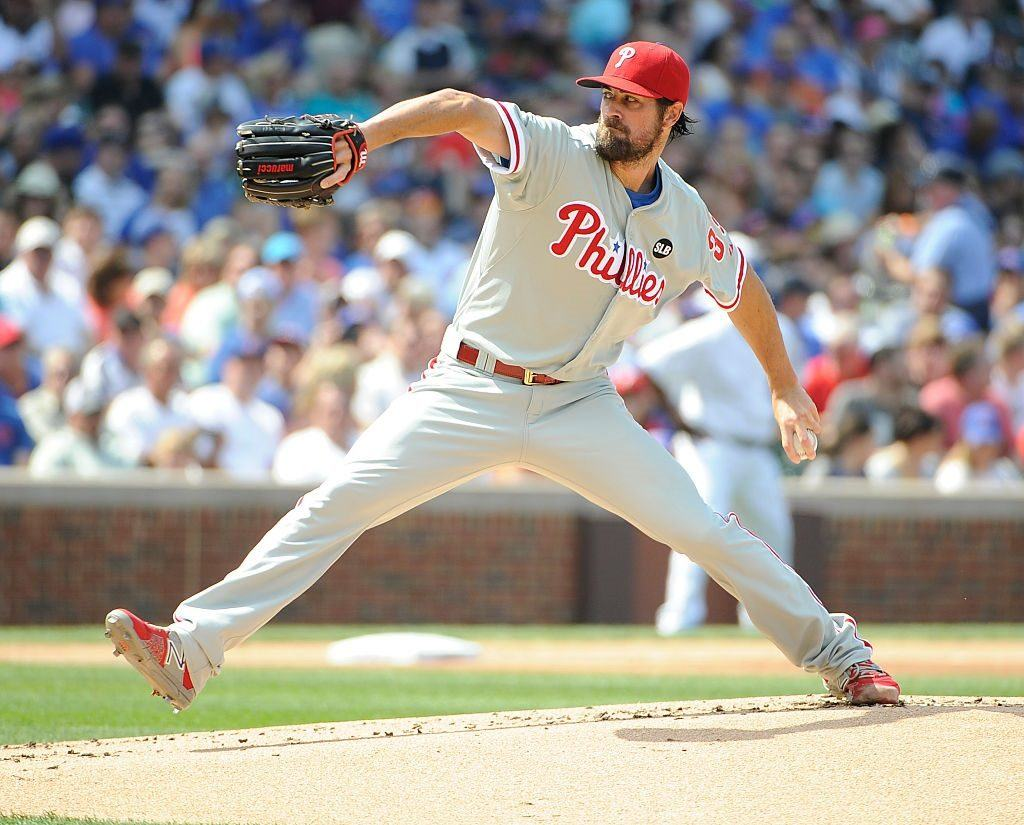 Pitcher Cole Hamels at the beginning at the no-hitter he pitched on July 25, 2015