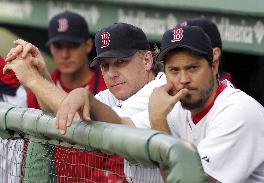 Curt Schilling (center) with teammate Josh Beckett