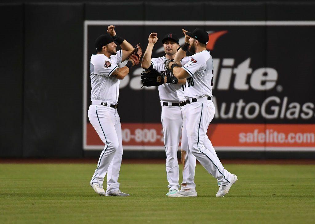 Arizona Diamondbacks outfielders (from left) David Peralta, AJ Pollock, and Steven Souza Jr