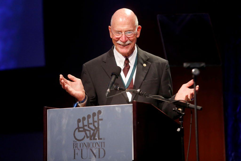 Dick Anderson speaks onstage during the 32nd Annual Great Sports Legends Dinner