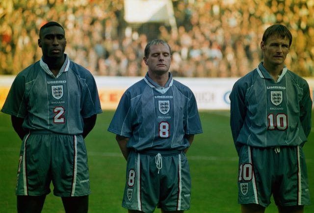 England players Sol Campbell (left), Paul Gascoigne (centre) and Teddy Sheringham line-up before the FIFA World Cup France 1998 Qualifying match against Ukraine