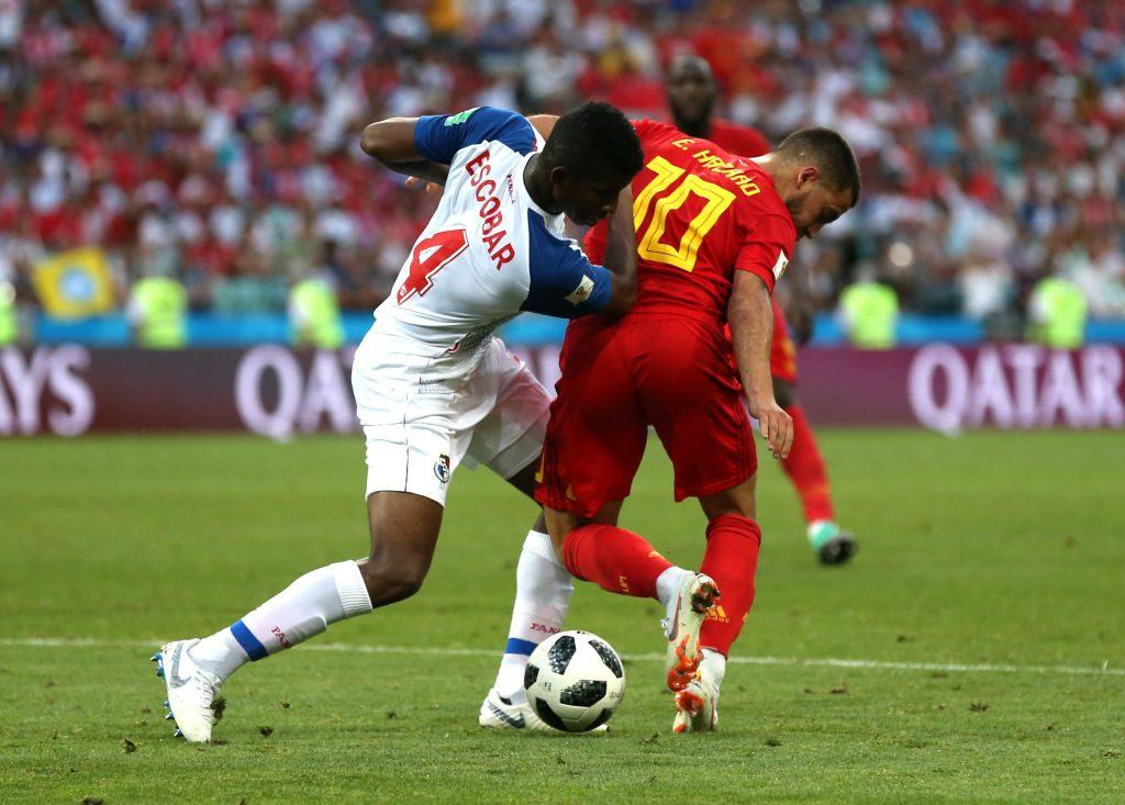Eden Hazard of Belgium is tackled by Fidel Escobar of Panama during the 2018 FIFA World Cup