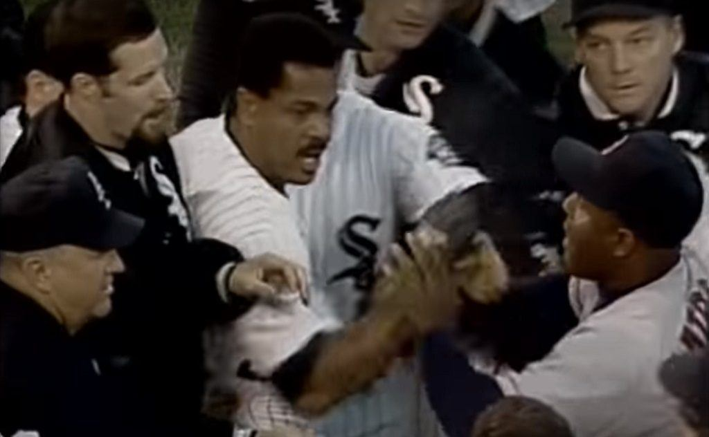 George Bell (center) is furious after being hit by a pitch from Aaron Sele