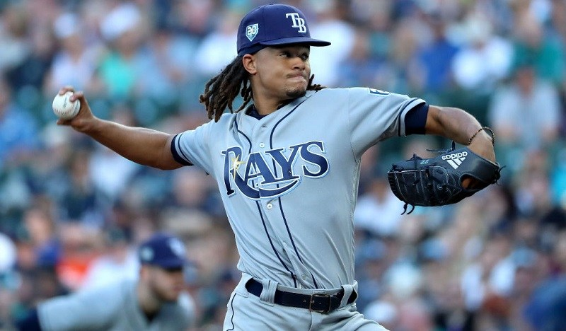 SEATTLE, WA - JUNE 02: Chris Archer #22 of the Tampa Bay Rays pitches against the Seattle Mariners in the first innng during their game at Safeco Field on June 2, 2018 in Seattle, Washington.