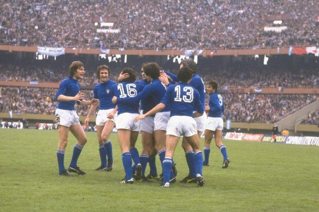 Italy celebrates their thriumph at the end of the World Cup Final match against West Germany in 1982