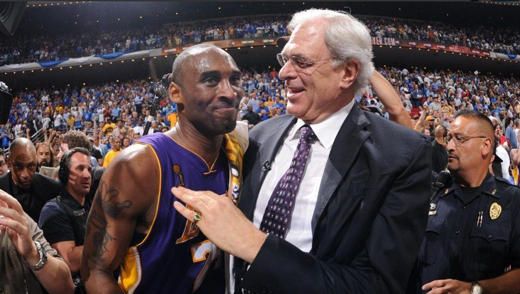 Kobe Bryant with Phil Jackson