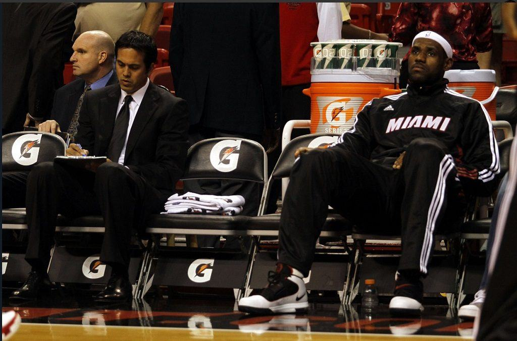 Former Heat coach Erik Spoelstra and LeBron James