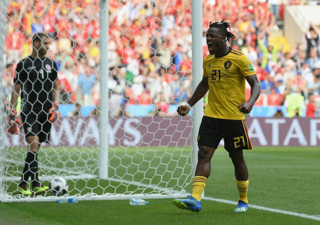 Michy Batshuayi of Belgium celebrates