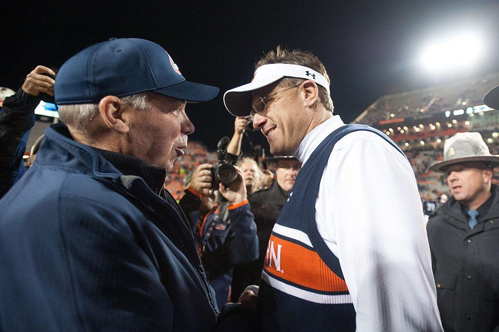 NCAA Football Auburn Dennis Shaw and Gus Malzahn