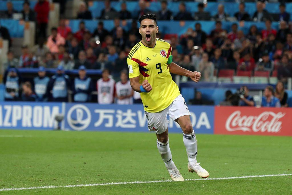 Radamel Falcao of Colombia celebrates scoring his team's first penalty in the penalty shoot out during the 2018 FIFA World Cup