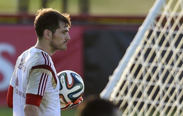 Spain's goalkeeper Iker Casillas takes part in a training session during the 2014 World Cup