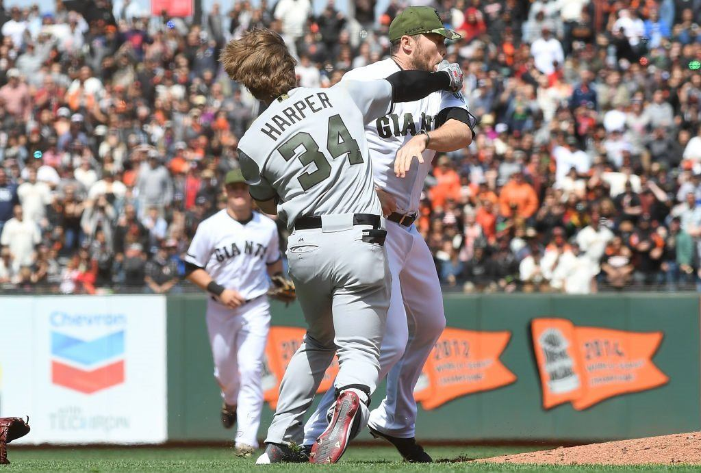 Bryce Harper takes a shot at Hunter Strickland as the benches clear at AT&T Park