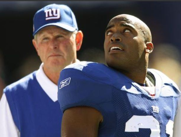 Tom Coughlin and Tiki Barber when both were with the New York Giants