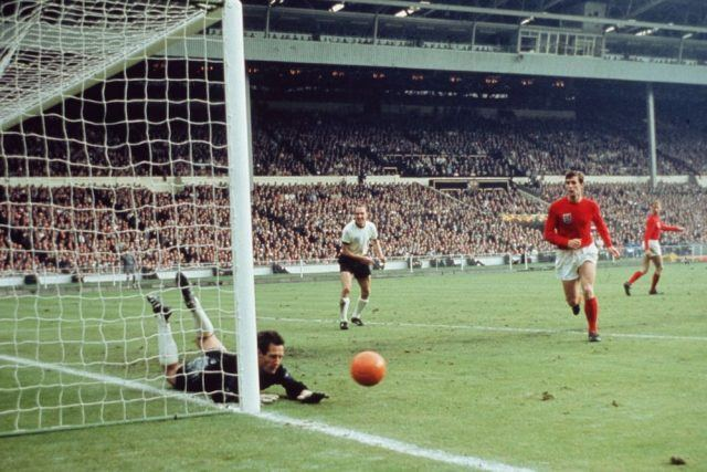 West German goalkeeper Hans Tilkowski saves a shot during the World Cup Final against England in 1966