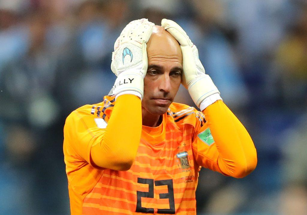 Wilfredo Caballero stands dejected at the World Cup