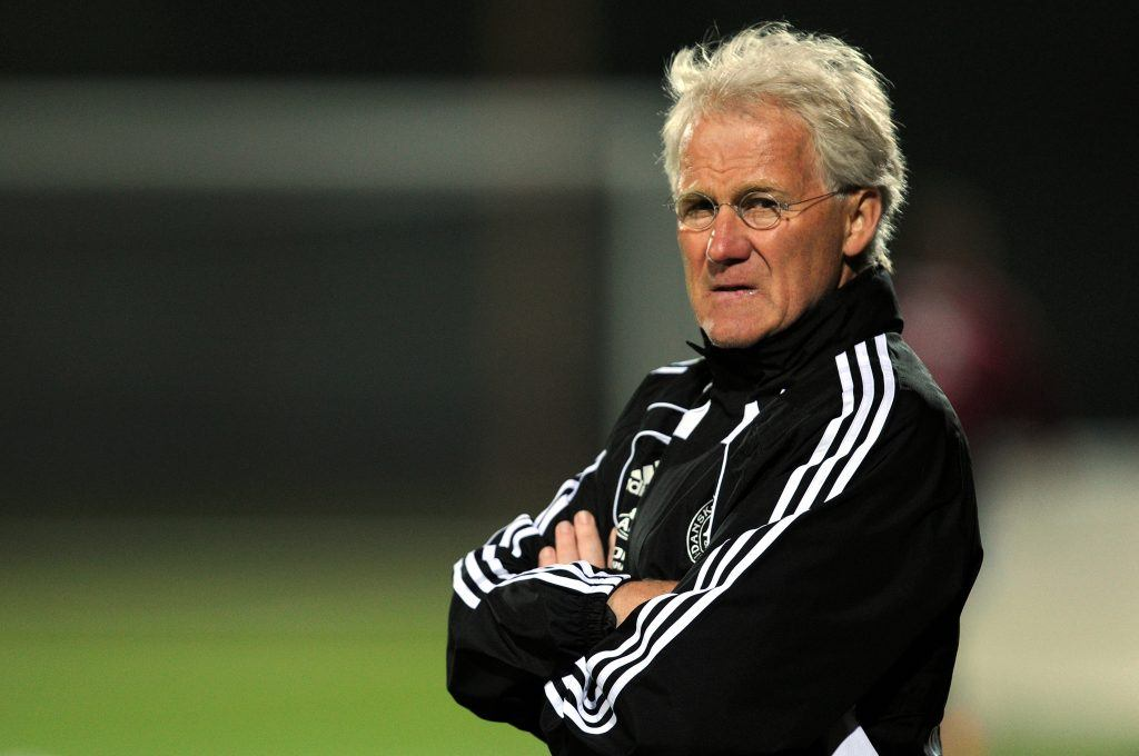 Morten Olsen coaches Denmark in 2010