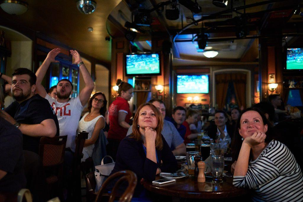 Football Fans Watch Colombia Take On England In The FIFA World Cup