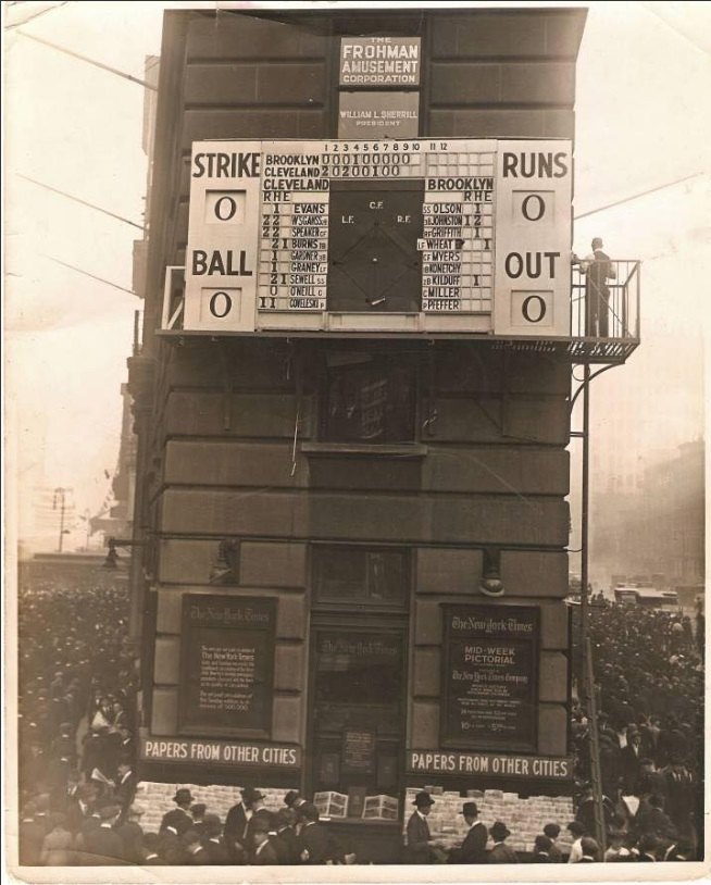 An animatronic scoreboard in New York's Time Square showing the score of the 1920 World Series