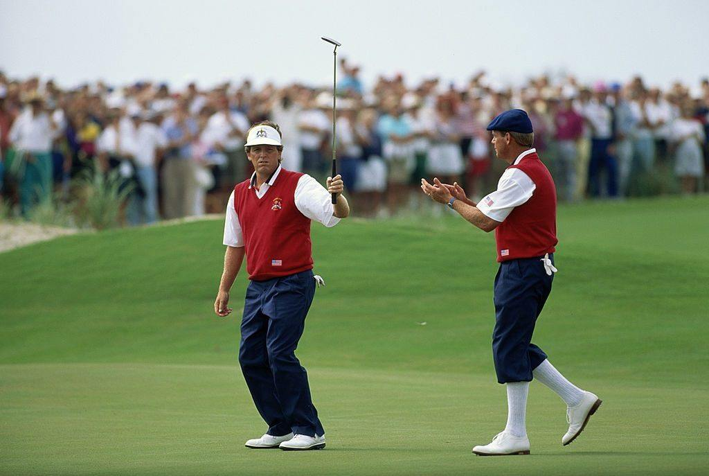 Mark Calcavecchia and Payne Stewart at the Ryder Cup in 1991