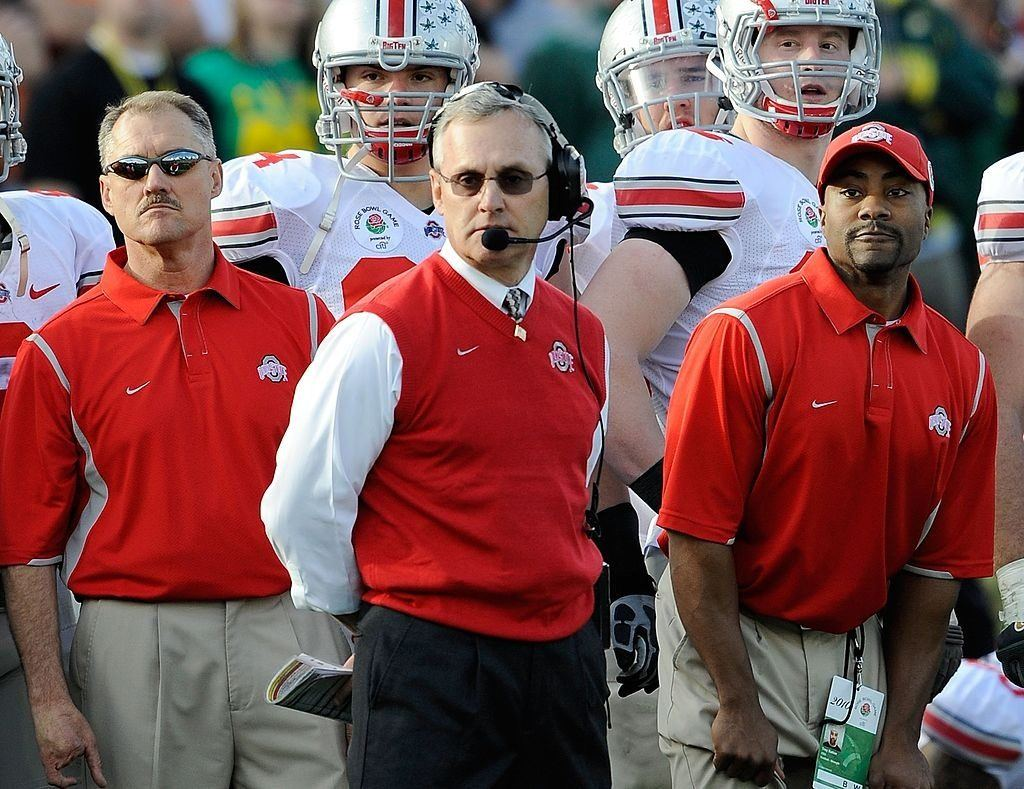 Jim Tressel and the Ohio State Buckeyes at the 2010 Rose Bowl