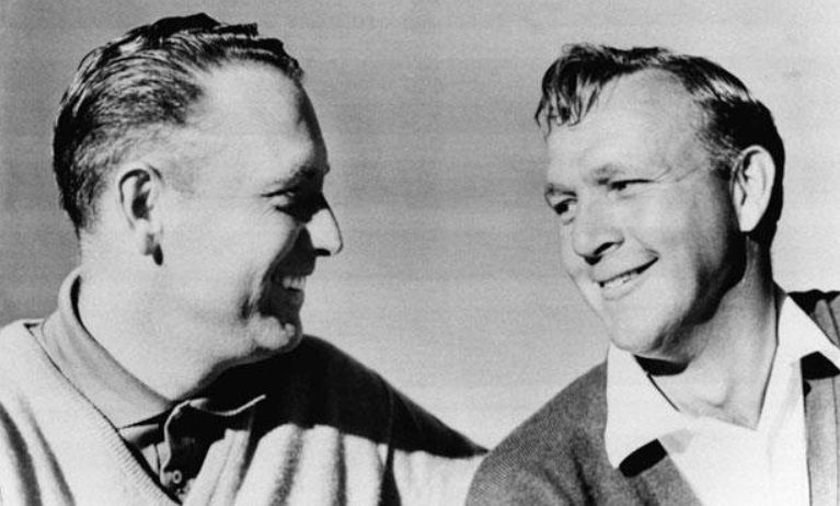 Arnold Palmer (right) with Billy Casper at the 1966 U.S. Open