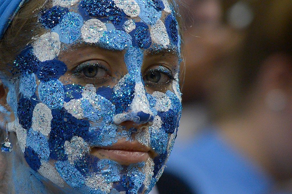 A UNC fan looks on ahead of a game against Virginia Tech